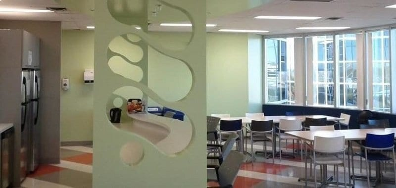 Office cafeteria painted in Green in North York