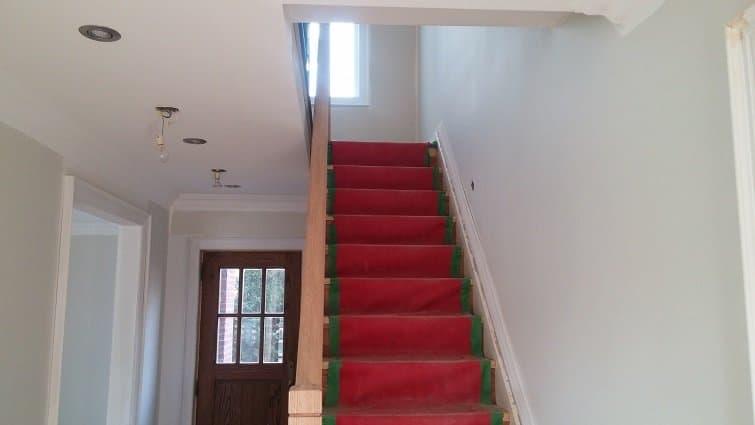 Stairway painting in progress in Etobicoke