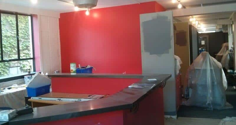 Red colour painted in office