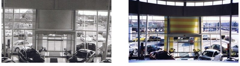 Commercial painting before and after at a local car dealership.