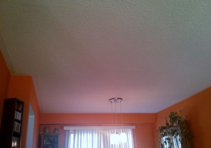 White painted stucco ceiling