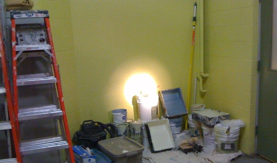 Organizing the tool area in a medical facility paint project