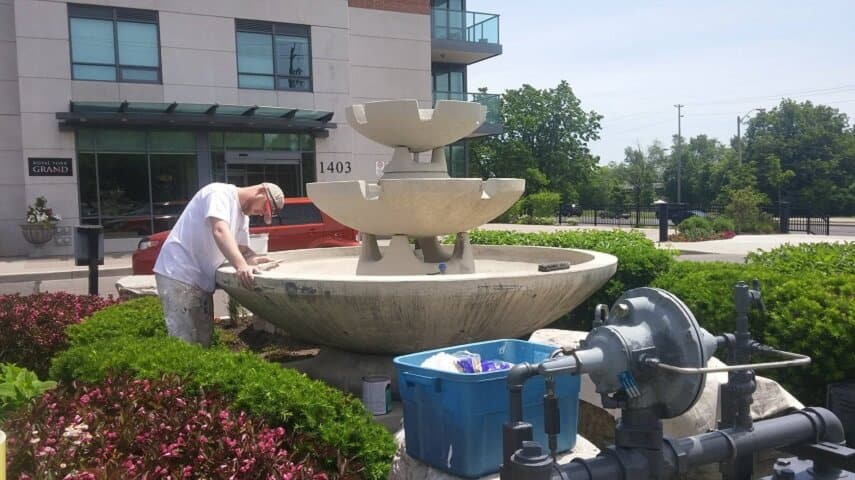Exterior Fountain with waterproofing Masonry Paint