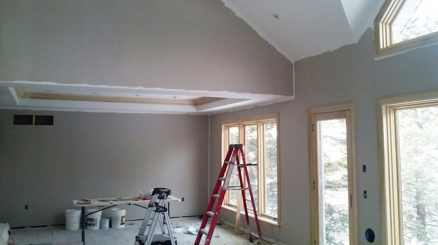 New construction home in North York, showing the first colour painted on the walls