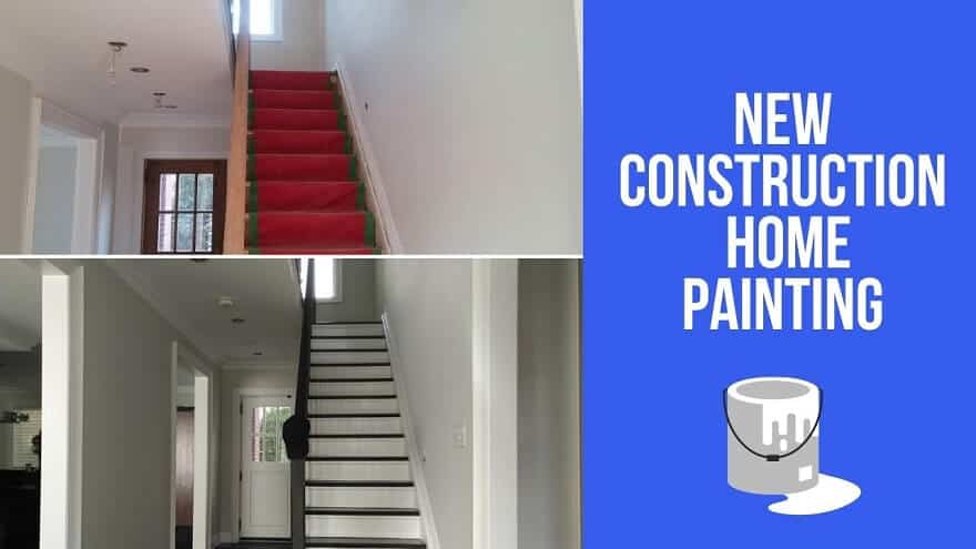 Painting of a new construction stairway before and after