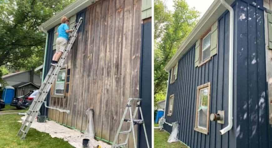 Exterior painter on ladder